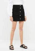 Superbalist - Black denim A-line mini skirt -  black