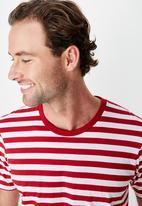 Cotton On - Tbar mid premium crew neck tee - white & red