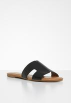 Call It Spring - Faux leather cut out sandal - black