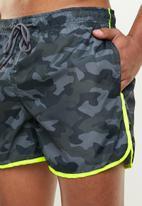 Brave Soul - Melton swim shorts - green & grey