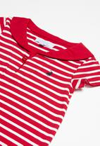 POLO - Tyler striped babygrow - red