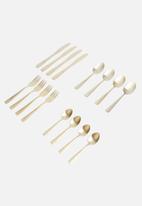 Excellent Housewares - Cutlery set 16pcs - matte gold