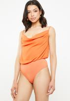 Missguided - Cowl front strappy bodysuit - orange