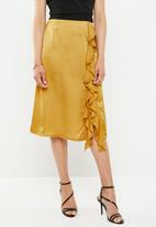 Missguided - Satin ruffle side slit midi skirt - yellow