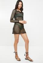 Missguided - Lace up fishnet long sleeve dress - black