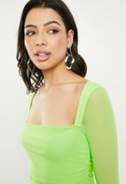 Missguided - Square neck mesh bodycon mini dress - green