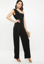 Missguided - One shoulder drape jumpsuit - black