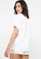 Missguided - Lace panel short pj set - white