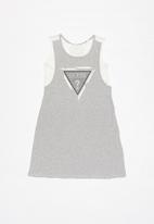 GUESS - Teens tri mesh carli dress - grey & white