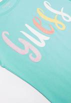 GUESS - Teens short sleeve rainbow guess tee - turquoise