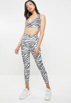 Missguided - Zebra print full length leggings and bralette - black & white