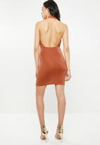 Missguided - Acetate slinky extreme cowl mini dress - rust
