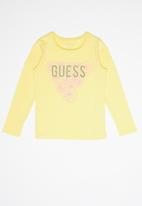 GUESS - Teens long sleeve leaf tri tee - yellow