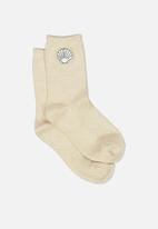 Cotton On - Embroidered crew sock - neutral