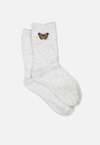 Cotton On - Embroidered crew sock - grey