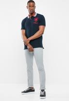 POLO - Ethan custom fit ss stripe collar golfer - navy