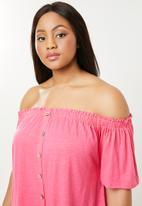 New Look - Button through bardot top - pink
