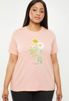 Cotton On - Curve graphic tee rosa - pink