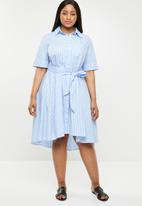 POLO - Plus size Danica stripe dress - blue & white