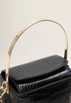 MANGO - Croc-effect bucket bag - black