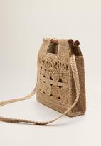 MANGO - Jute handbag - brown