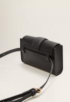 MANGO - Flap crossbody belt bag - black