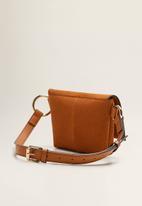 MANGO - Leather flap bum bag - brown