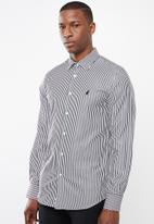 POLO - Greig bengal stripe signature long sleeve shirt - black & white