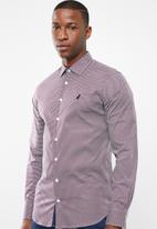 POLO - Bennett geo print signature long sleeve shirt - red & blue