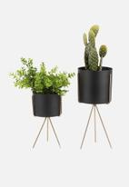 Present Time - Pedestal iron plant pot set - black