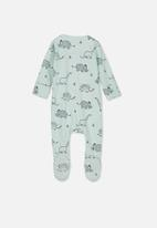 Cotton On - The long sleeve zip romper - green