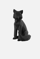 Present Time - Origami fox polyresin statue large - matte black