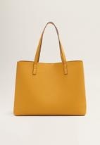 MANGO - Pebbled effect shopper bag - yellow