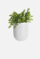 Present Time - Oval wall planter pot - white