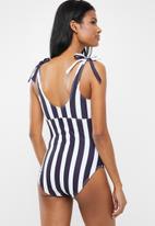 Superbalist - Tie detail maternity swimsuit - navy & white