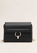 MANGO - Ring flap bag - black