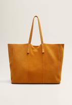 MANGO - Leather shopper bag - yellow