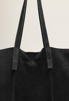 MANGO - Leather shopper bag - black