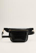 MANGO - Zip detail belt bag - black