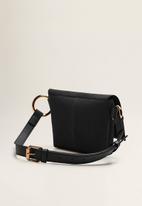 MANGO - Leather flap bum bag - black