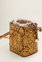 MANGO - Bucket bag - yellow & brown