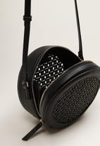 MANGO - Laser-cut round bag - black