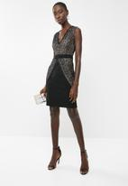 Revenge - Scalloped lace overlay cocktail dress - black