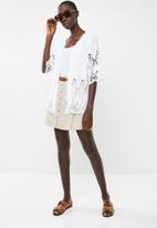 New Look - Crochet detail kimono - white