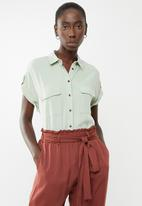 New Look - Patch pocket shirt - green