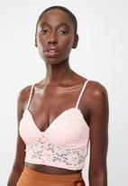 New Look - Lace button detail bralet - pink