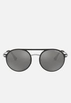 Emporio Armani - Round sunglasses 53mm - black & silver