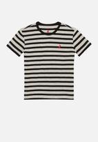 POLO - Boys logan striped tee - grey & black