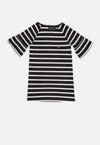 POLO - Girls nicola ms striped dress - black & white