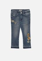 POLO - Kim embroidered cropped jean - blue